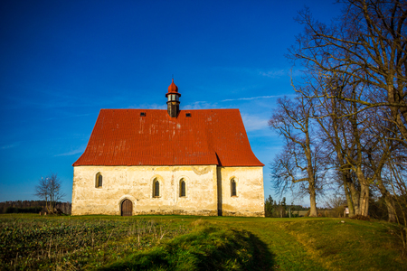 Old church in the field. Dobronice u Bechyne, Czech republic.