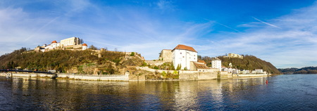 Panoramic view of Passau with Danube river, Bavaria, Germany