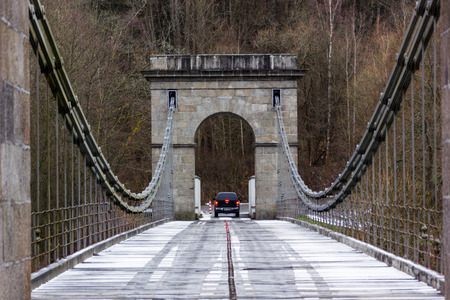 Stadlecky chain bridge over the river Luznice in the Czech republic. National Technical Monument. Stock Photo
