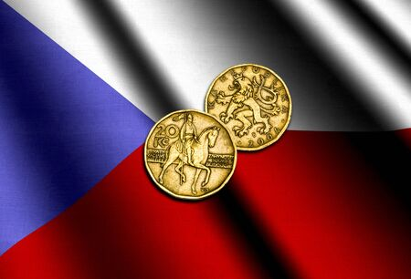 Czech money on the flag. Abstract illustration.
