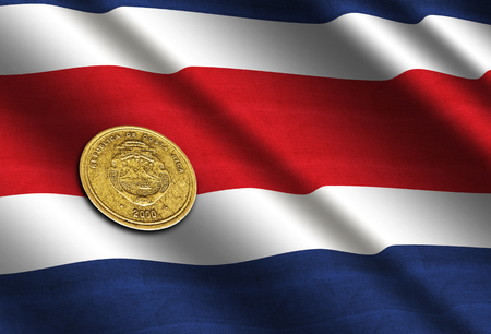 Costa Rican money on the flag. Abstract illustration. Stock Photo
