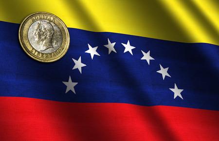 Venezuelan money on the flag. Abstract illustration.