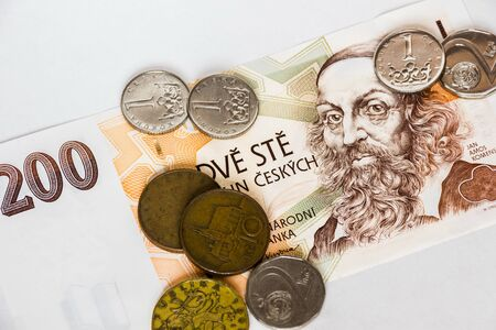 Czech money on the white background. Abstract illustration. Stock Photo