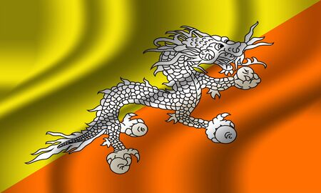 Authentic colorful textile Bhutan flag Stock Photo