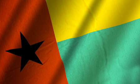 Authentic colorful textile flag of Guinea-Bissau Stock Photo