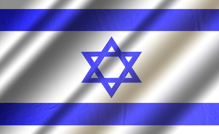 Authentic colorful textile flag of Israel