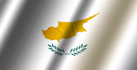Authentic colorful textile flag of Cyprus