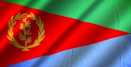 Authentic colorful textile flag of Eritrea Stock Photo