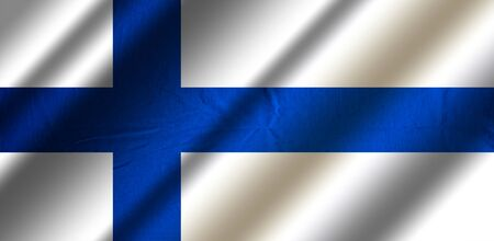 Authentic colorful textile flag of Finland