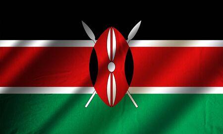 Authentic colorful textile flag of Kenya Stock Photo