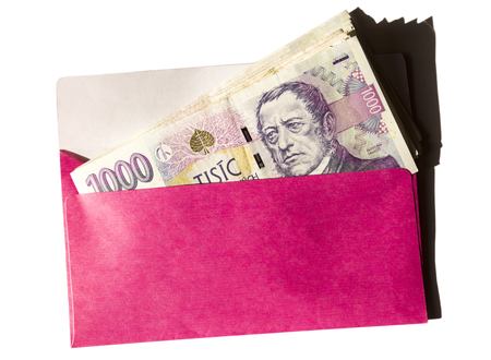 Pink envelope with czech money isolated on the white background Stock fotó