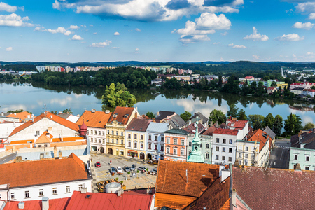 Aerial view of Jindrichuv Hradec. City in South Bohemian region, Czech Republic, Central Europe. Stock Photo