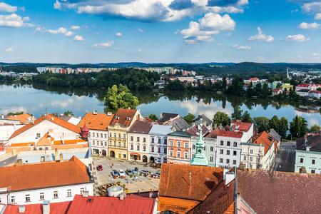 Luftaufnahme von Jindrichuv Hradec. Stadt in der südböhmischen Region, Tschechische Republik, Mitteleuropa.