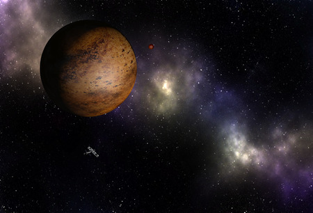 Interstellar spaceship flying near unknown brown planet in outer space with stars and nebulas. Foto de archivo - 103836364