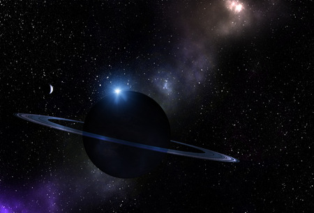 Unknown planet with rings in blue tones. Space exploration. Stock Photo