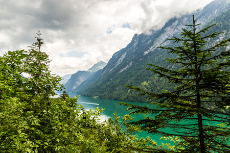 Konigssee lake, known as Germany's deepest and cleanest lake, southeast Berchtesgadener Land district of Bavaria, near the Austrian border.