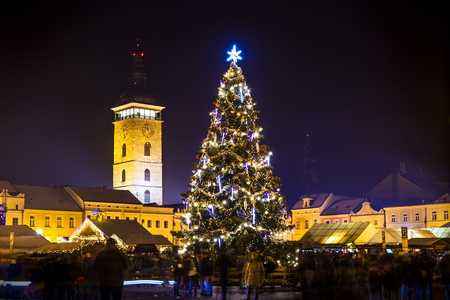 Christmas tree on old town square in Ceske Budejovice at Christmas time. Night. Stock Photo