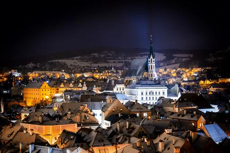 Night view at Cesky Krumlov. Czech Republic.