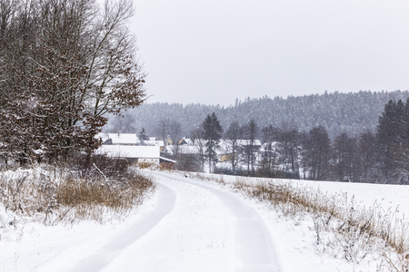 Countryside road snow covered. Czech countryside. Stock Photo