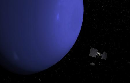 Planet Neptune on the stars background. 3D illustration.