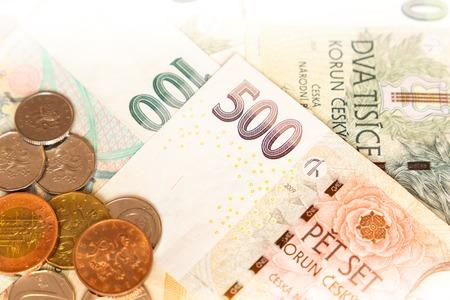 Czech money close-up on