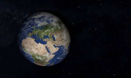 View of blue planet Earth in space with her atmosphere. 3d - illustration.