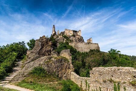 Burgruine Durnstein is a ruined medieval castle in Austria. Wachau valley.