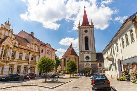 Blatna city. View of a old city square with church. Czech Republic. 版權商用圖片