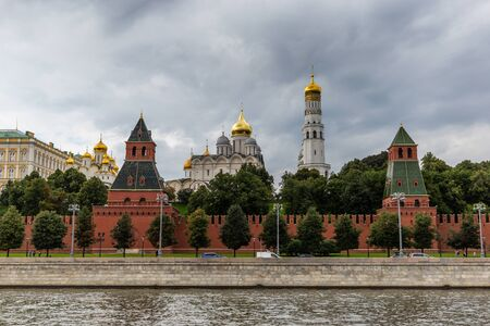 Landscape overlooking the river and buildings of the Moscow Kremlin.