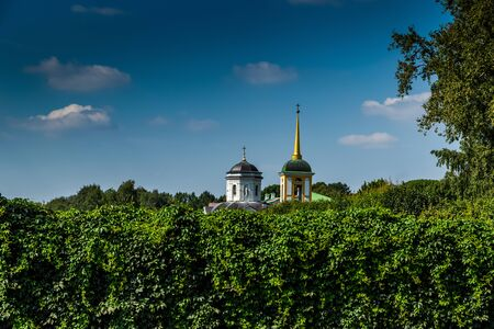 The old manor of Counts Sheremetevs in Kuskovo on banks of pond. Russia, Moscow. 版權商用圖片