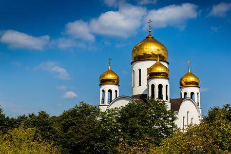 Église de l'introduction au temple de la bienheureuse vierge Marie. Veshnyaki, Moscou. Banque d'images