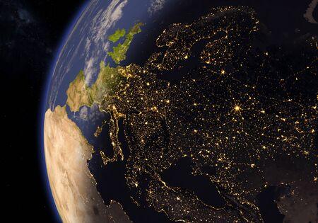 Planet earth with terminator line. European continent. 3d illustration. Banco de Imagens