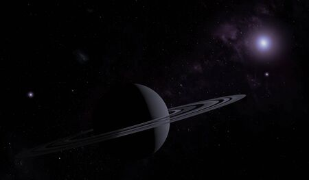 Unknown planet with rings in outer space with stars and nebulas. Space exploration. 3D illustration.