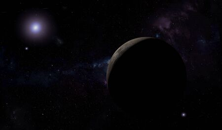 Unknown planet in outer space with stars and nebulas. Space exploration. 3D illustration.