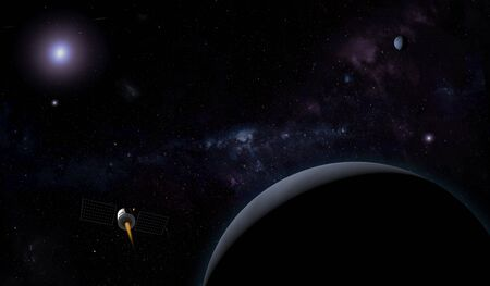 Unknown planet and spacecraft in outer space with stars and nebulas. Space exploration. 3D illustration. Stock fotó