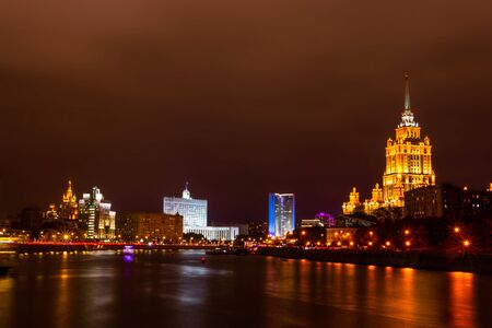 Cityscape of night Moscow.  Hotel Ukraine and the house of Russian Federation Government.