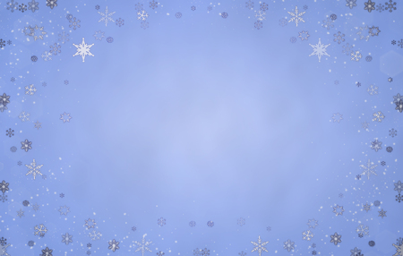 Winter background in blue tones with snowflakes.