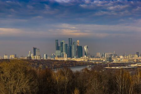 Modern Cityscape. Moscow-city, Russia. Moscow International Business Center. 版權商用圖片