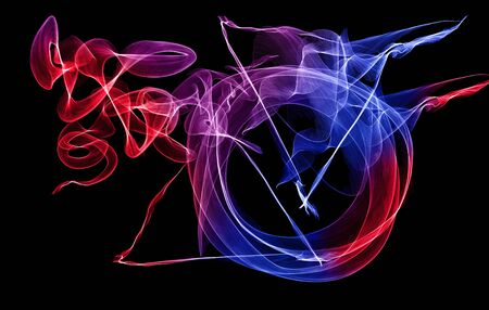 Abstract background for design. Colors, smokes and lines on a black background. 版權商用圖片