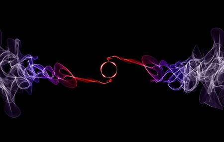 Colorful smoke with lights and rings on black background. 版權商用圖片
