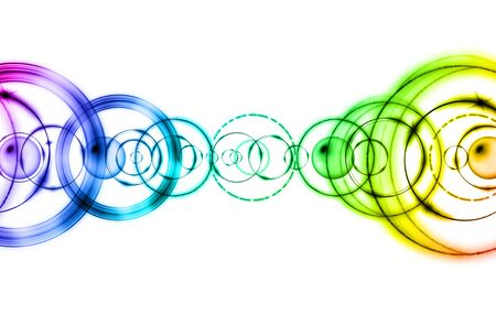 Colorful rings on white background. Abstract pattern.