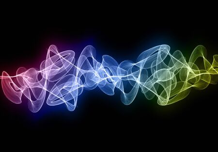Abstract colorful wavy smoke over black background.