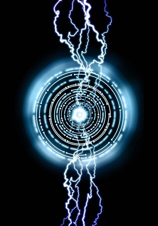 Powerful electrical discharge, lightning strike impact on black background. Magical light effect.