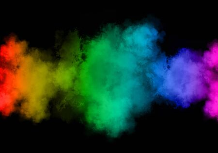 Beautiful colorful smoke abstract on black background. Magical light effect.