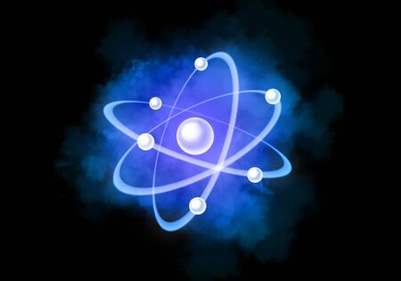 Colorful atomic particle background science. Atomic structure. And color smoke.