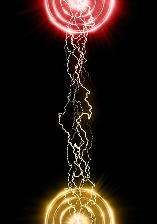 Lightning concentrated in two points. Thunderbolt effect. Abstract decoration. Sparkling energetic flash.