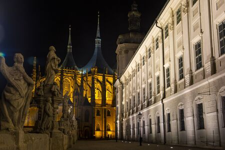 Saint Barbaras Church in Kutn Hora at night. Czech Republic.