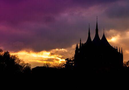 Dramatic sunset over Saint Barbaras Church. Kutna Hora. Czech republic.