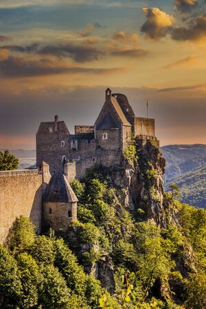 Aggstein Castle ruins at sunse time. Wachau Valley of Danube River, Austria.