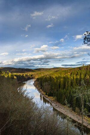 Vltava river from survey point. Late fall evening. 版權商用圖片 - 135092336